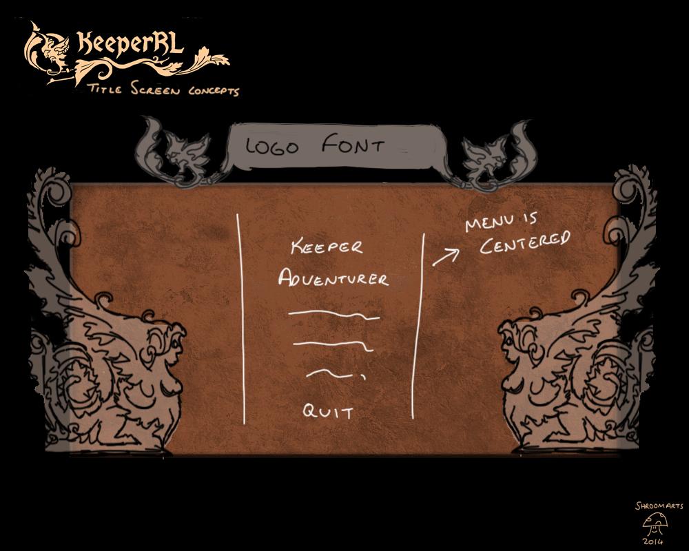 Keeper RL title screen / main menu concepts