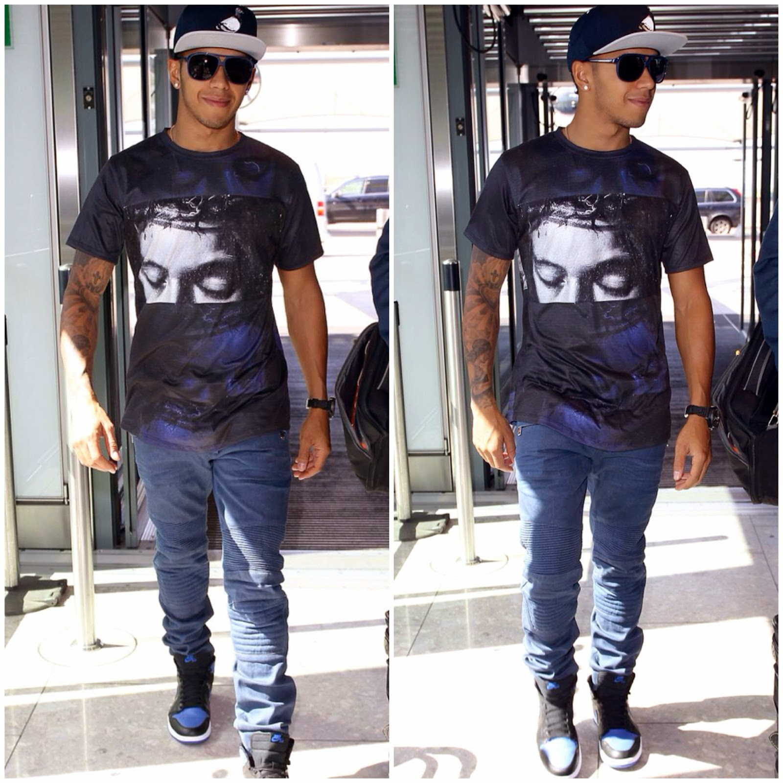 Lewis Hamilton's En Noir t-shirt and Balmain jeans - Heathrow Airport