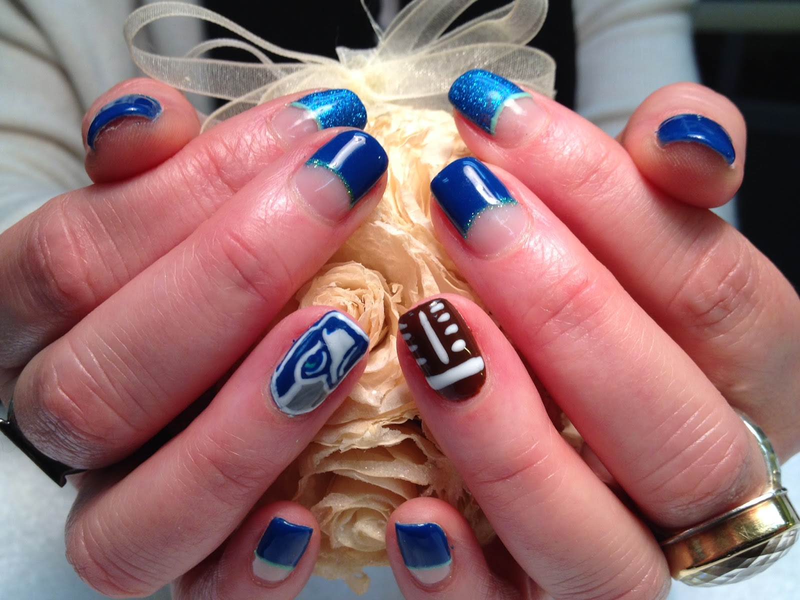 seattle seahawks nail designs