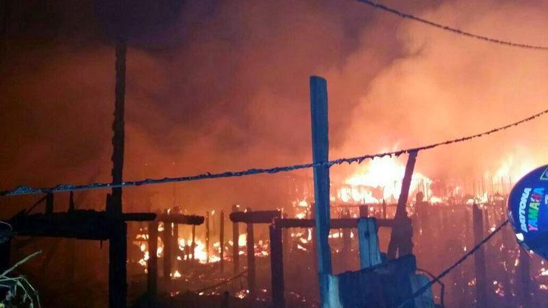 Kebakaran di Kg Tanjung Batu Laut Tawau 100 rumah musnah