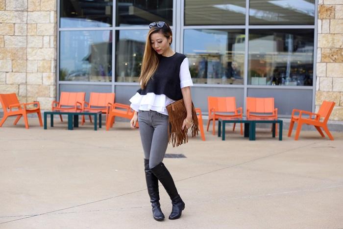 Anthropologie Kindred Ruffle-Hem Top, my anthro photo, blank denim skinny jeans, OTK boots, fringe bag, gorjana bracelet, nyc blogger, thanks giving outfit, street style, fashion blog