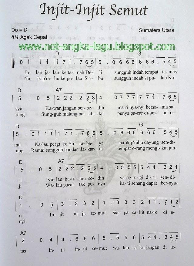 Not Angka Lagu Injit Injit Semut