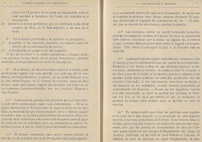 Páginas 6 y 7 del libro del Torneo de Ajedrez para el Campeonato de Barcelona de 1913