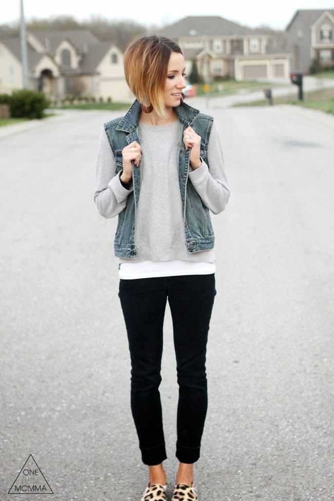 Denim vest, gray tee, black denim and leopard sneakers