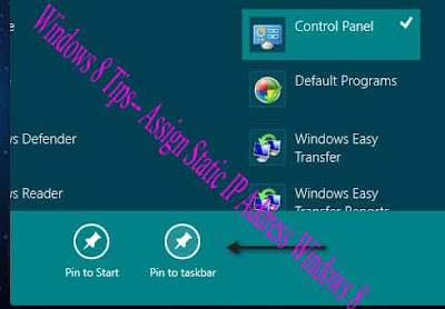 Windows 8 Tips-- Assign Static IP Address Windows 8