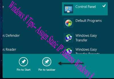 Windows 8 Tips-- Assign Static IP Address Windows 8