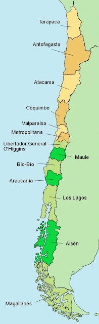 mapa regional de chile