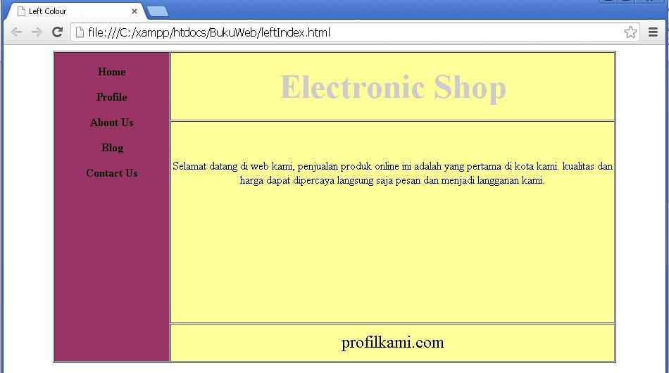 Desain halaman web dengan konsep tabel pemograman web for Table th bgcolor