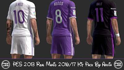 PES 2013 Real Madrid 2016/17 Kits v3.0 By Arvin