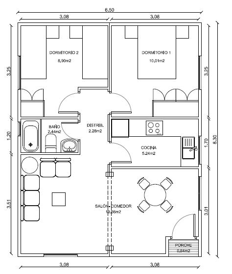 Plano casa 54 m2 cod 2005 planos de casas gratis - Planos de casas de madera de una planta ...