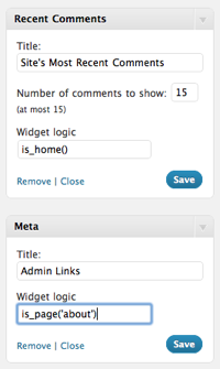 Widget Logic widgets