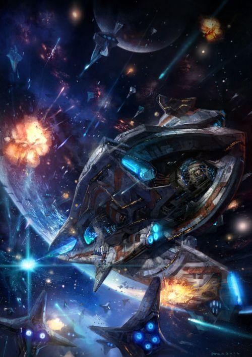 HongWen xaeroaaa deviantart ilustrações fantasia ficção científica Batalha espacial