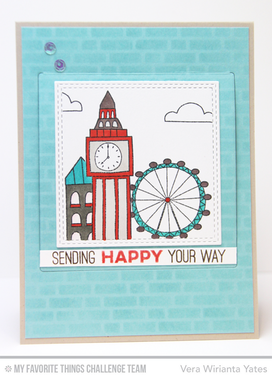 London Happy Card by Vera Wirianta Yates featuring the Totally Happy stamp set and the London Mouse stamp set and Die-namics #mftstamps