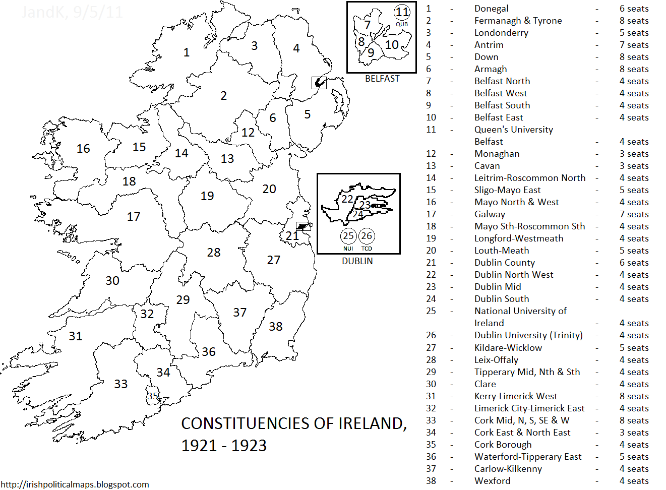 Irish Political Maps: Constituencies of Ireland, 1921 - 1923