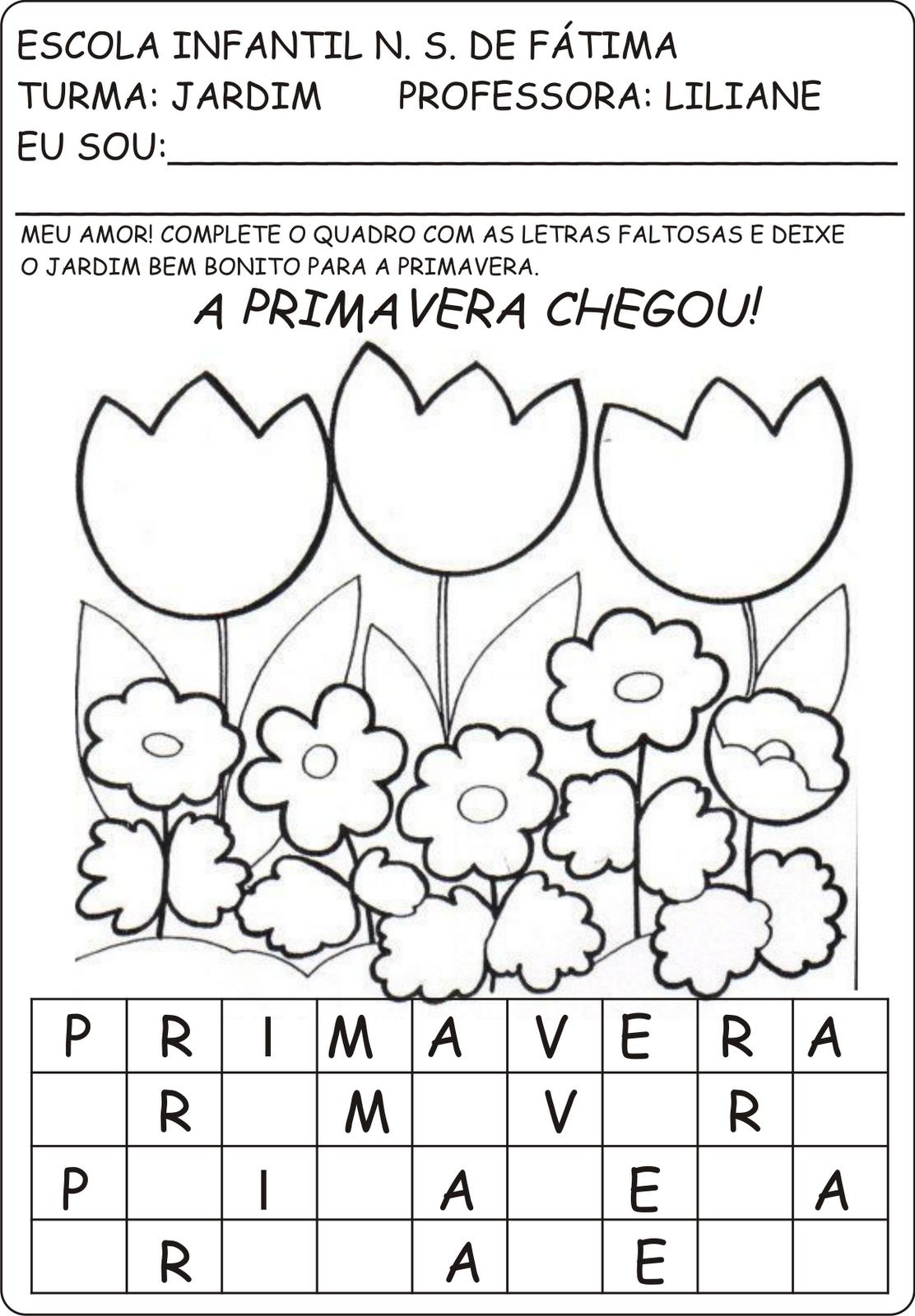 Fabuloso Atividades primavera e plantas - A Arte de Ensinar e Aprender PX92
