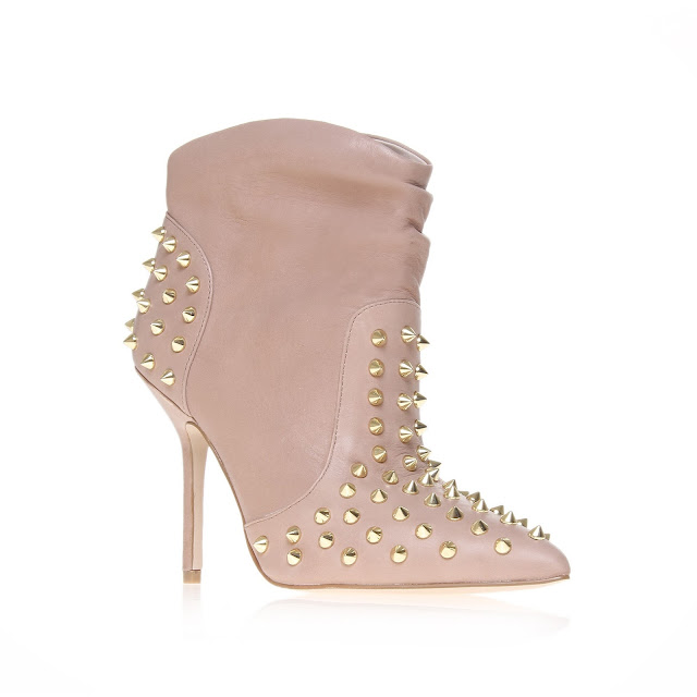 Kurt Geiger nude and gold studded ankle boots