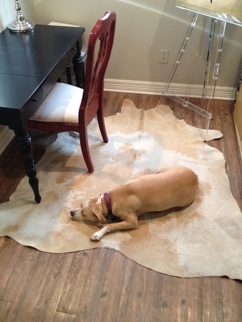 neutral cowhide rug