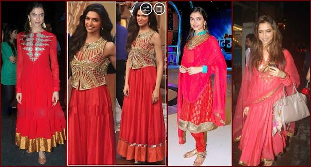 Deepika Padukone in Red Salwar Kameez, deepika red salwar suits, deepika in red outfits