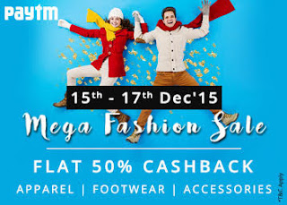 (Last Day) Paytm : Get at Flat 50% Cashback on Unisex Appreal And Footwears for Mega Fashion Sale valid till  17th Dec 2015 – buytoearn