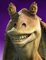 Jar Jar Binks with stupid grin on his face Gungan idiot