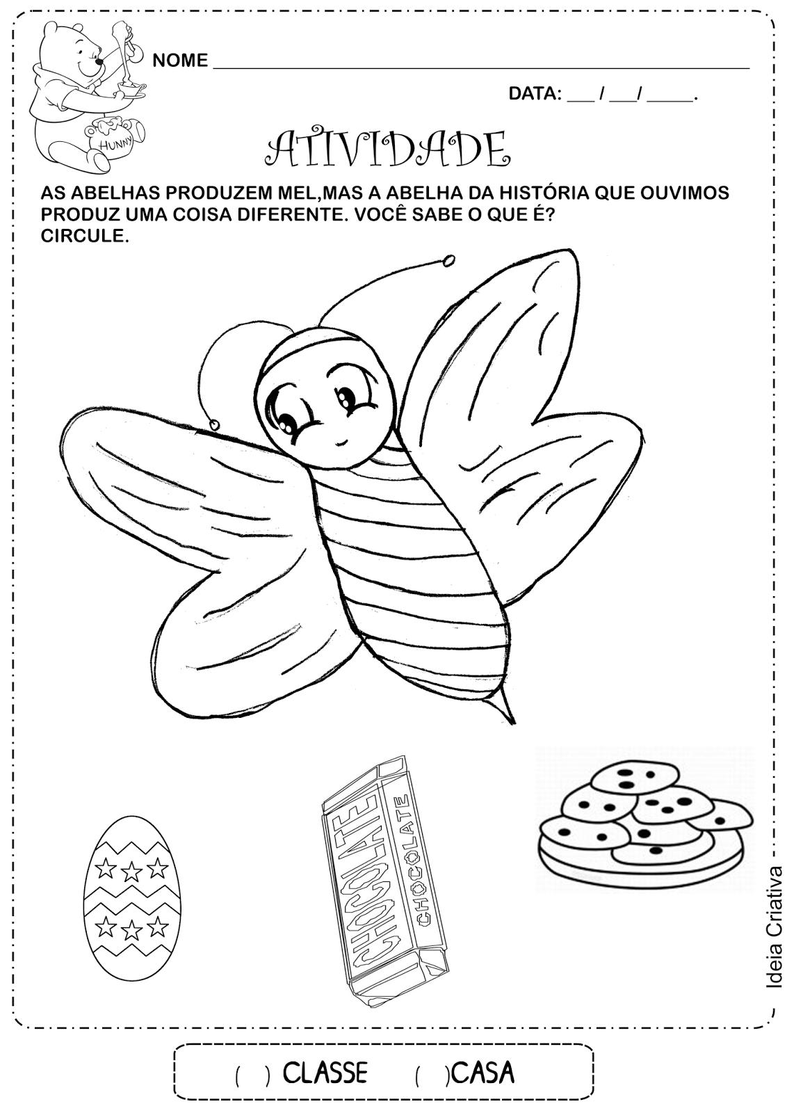 Atividade A Abelha Chocolateira Educação Infantil