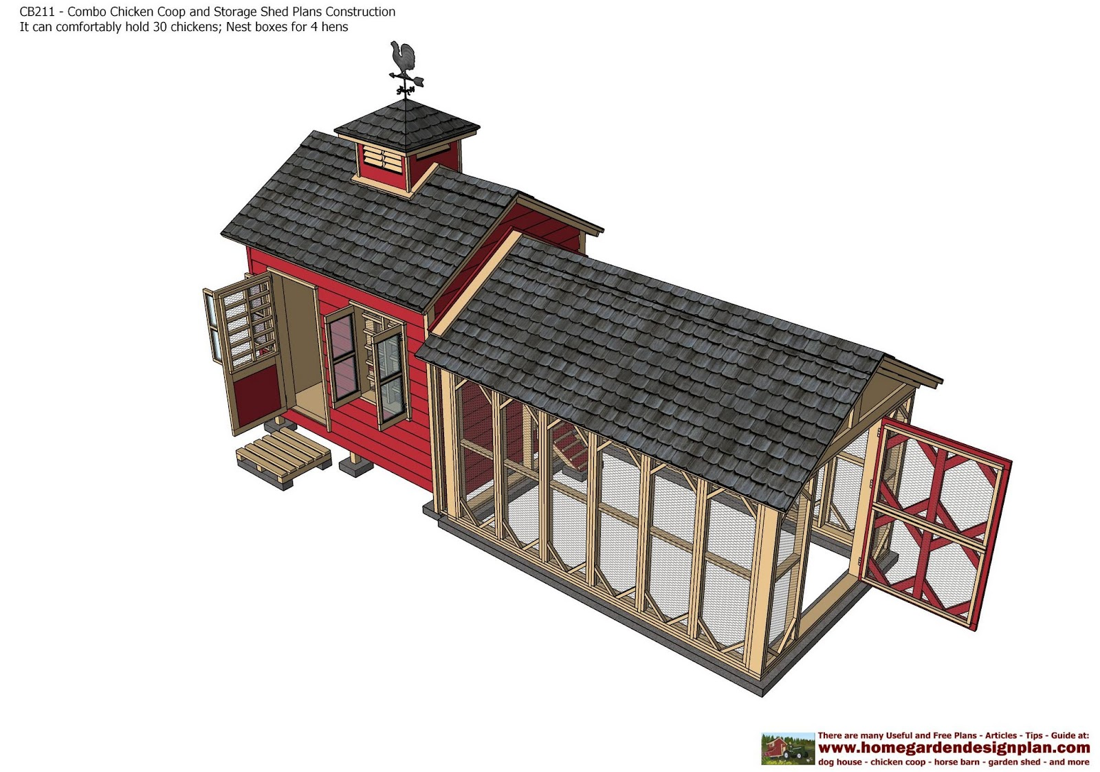 Combo Chicken Coop Garden Shed Plans   Chicken Coop Plans   Storage