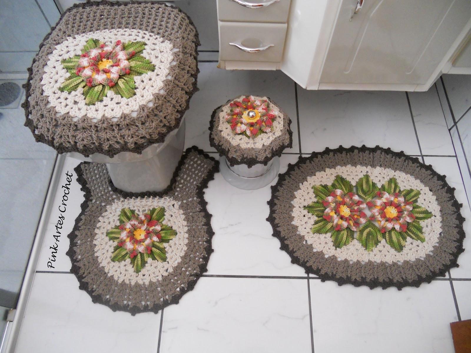 Well-known Pink Artes Croche: Jogo de Banheiro flor e folhas 4 pçs VF48