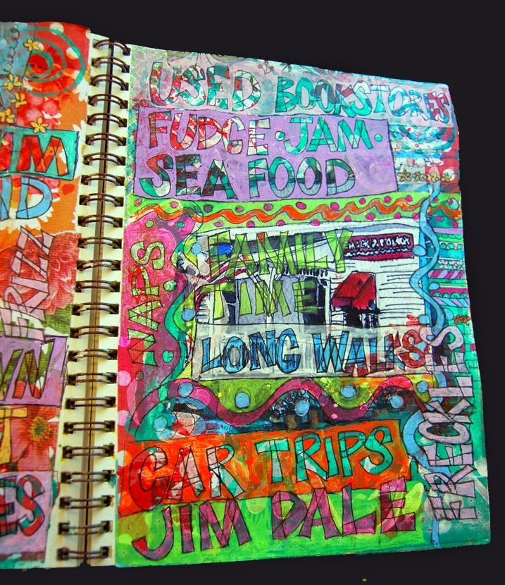 art journal pages | art journal ideas | art journal techniques | discover them on http://schulmanart.blogspot.com/2014/08/art-journal-ideas-for-summer.html