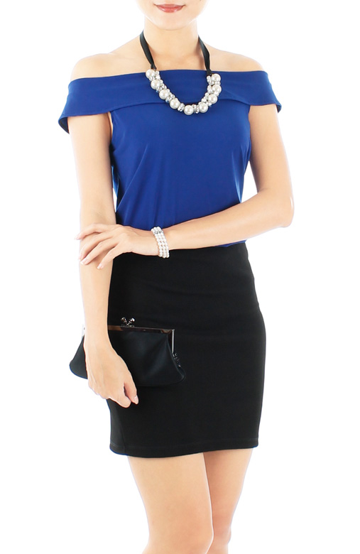 Cobalt Blue Sassy Off-the-Shoulder Top