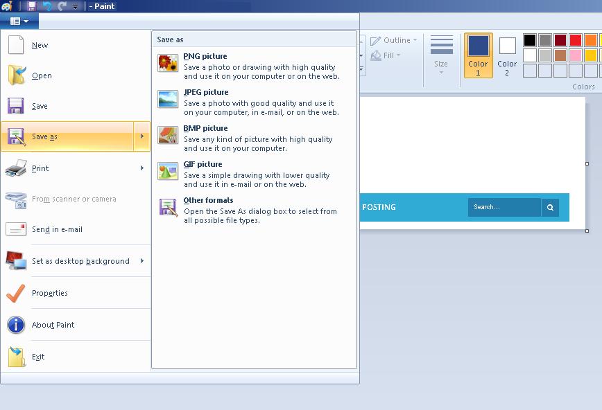 Menyimpan Screenshot dengan pilihan format