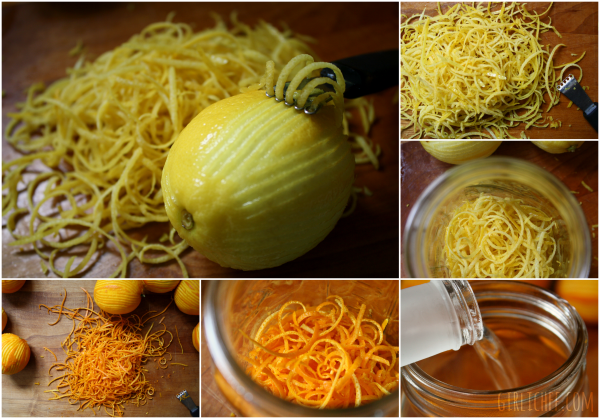 zesting lemons and oranges for DIY Arancello and Limoncello @ http://www.girlichef.com/2013/03/ArancelloLimoncelloDIY.html