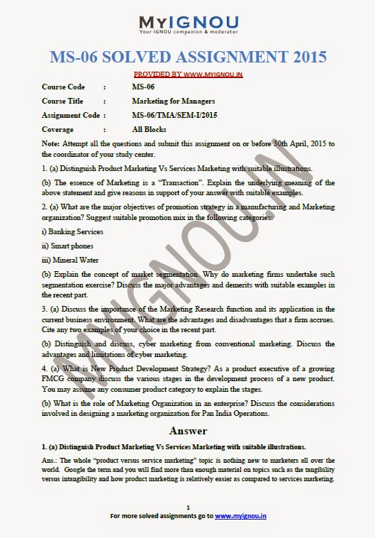 IGNOU Solved Assignments 2018-19 (Sample)