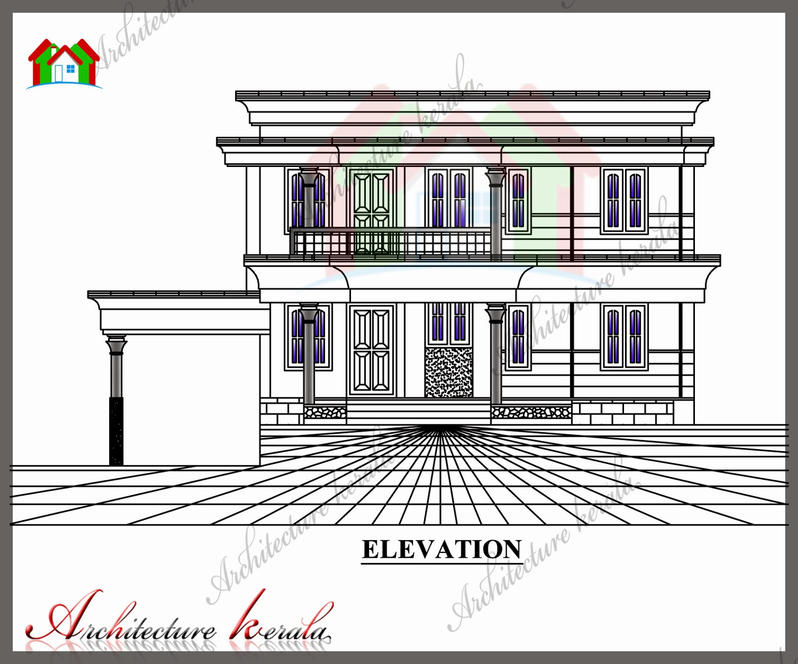 N Home Elevation Hours : Sq ft house plan with detail dimensions
