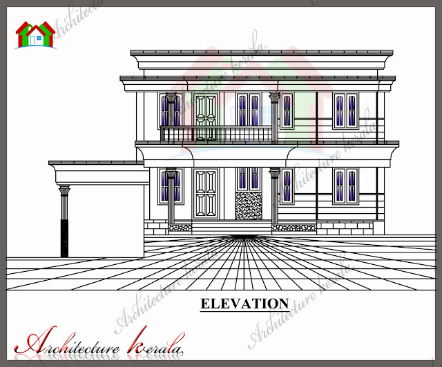 Elevation Plan With Dimension : Sq ft house plan with detail dimensions
