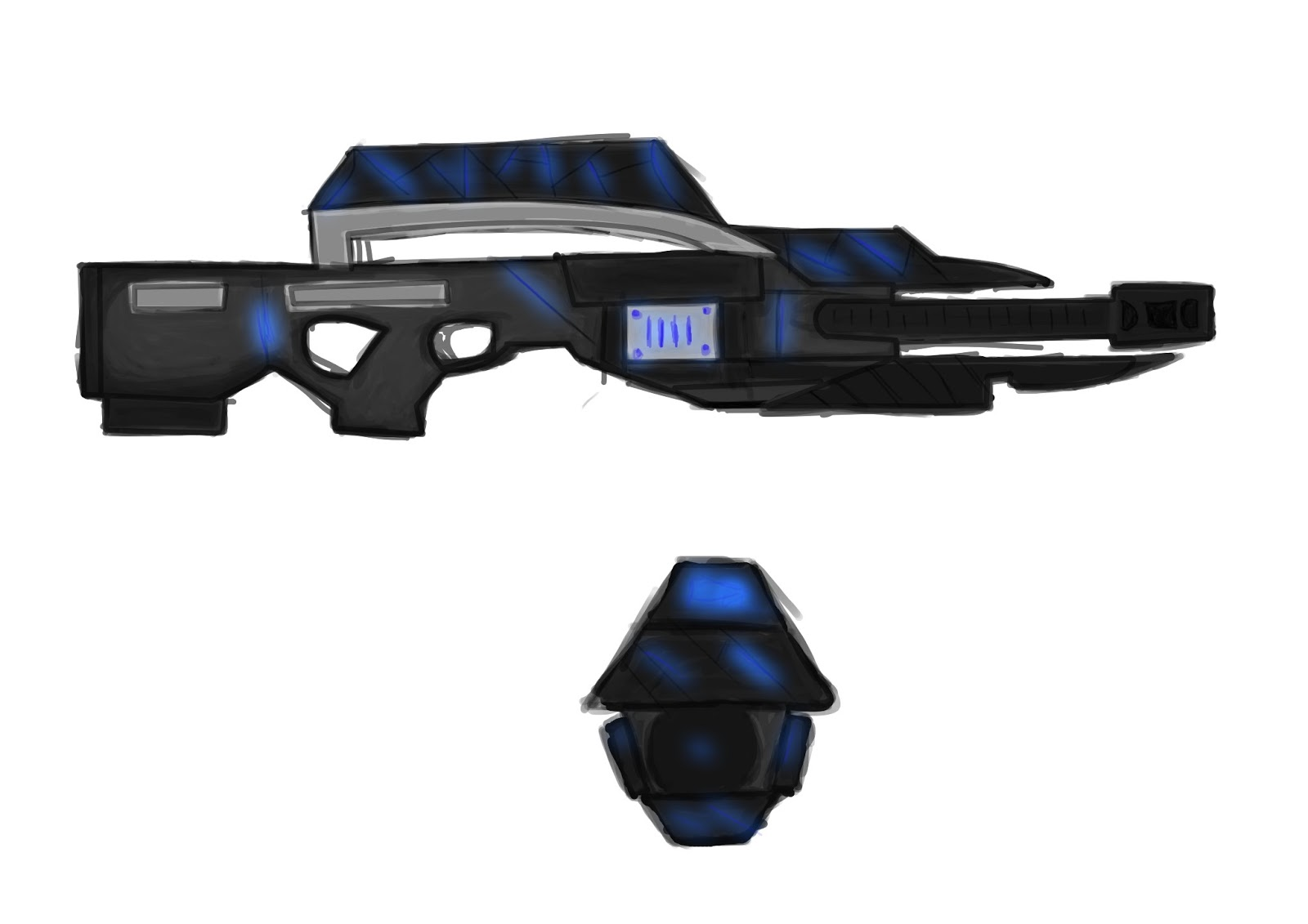 this is a rough design for the fps weapon i will be modeling