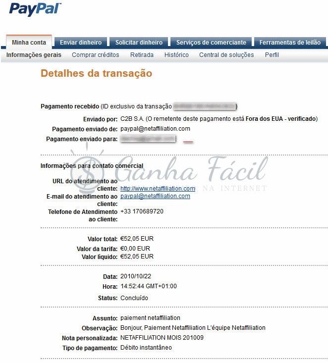 NetAffiliation pagamentos automáticos euros dinheiro