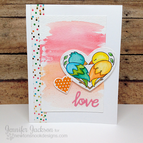 Bird Love Valentine card by Jennifer Jackson | Darling Duos Stamp set by Newton's Nook Designs #newtonsnook