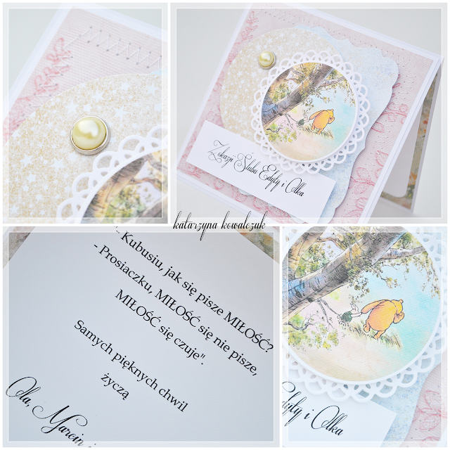 Kartka ślubna z Kubusiem Puchatkiem