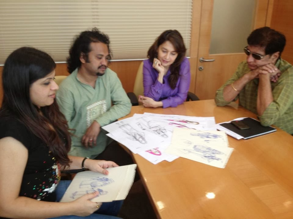 Madhuri Dixit and team Gulaab Gang discussing abut costumes