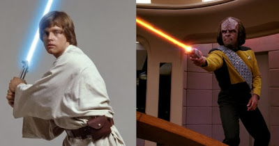 luke skywalker holding lightsaber worf firing phaser