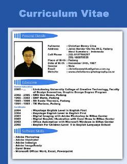 Contoh CV Curriculum Vitae Terbaik - Lengkap