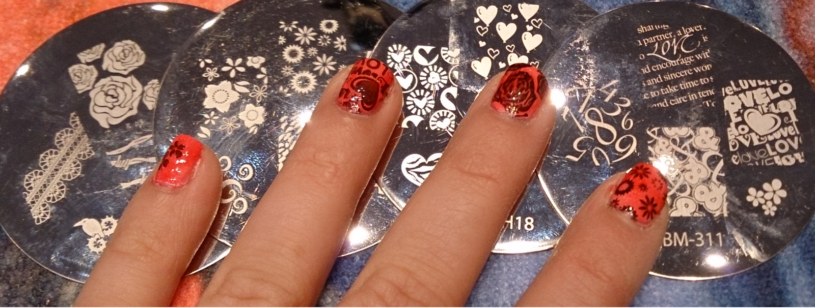valentines day love romance romantic pink red nail design art nails stamping bundle monster plates