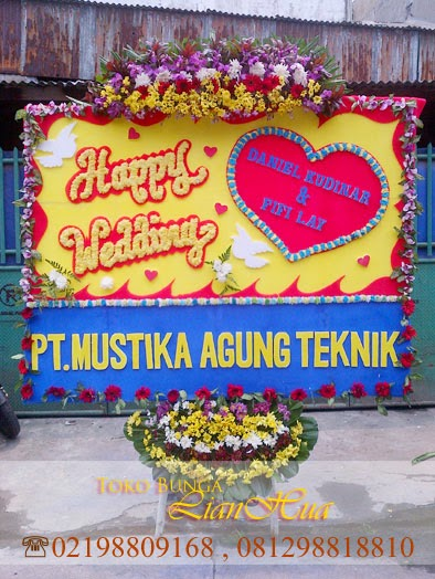 bunga papan ucapan pernikahan happy wedding