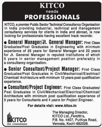 Jobs In Kitco Consultant, Kochi - Manager, Consultant, Project