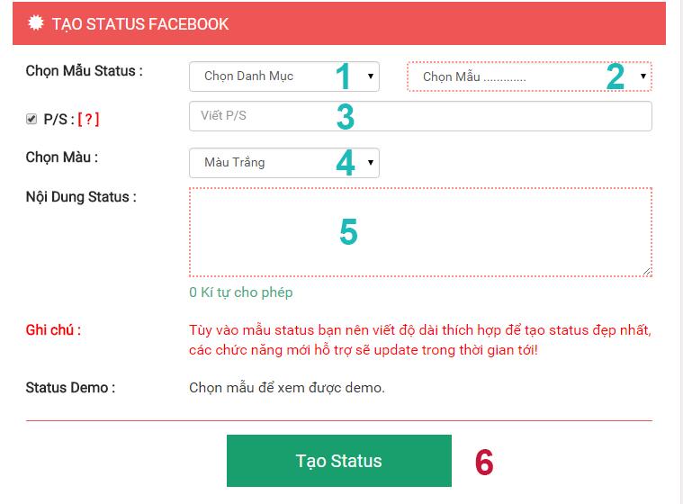 Hướng dẫn sử dụng ứng dụng tạo status phiên bản mobile
