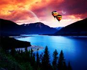 Imagens de Fundo: Imagem de FundoPaisagem de lago com balões ao fundo (paisagem de lago com baloes ao fundo imagens imagem de fundo wallpaper para pc computador tela gratis ambiente de trabalho)