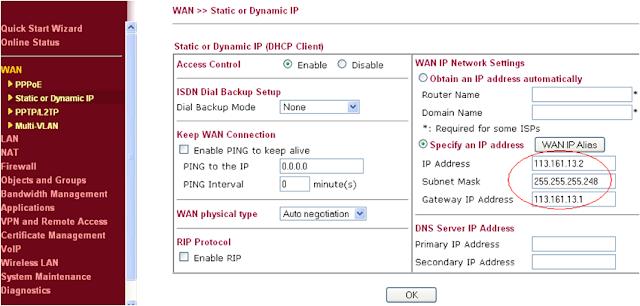 Draytek Vigor 2910, cấu hình, Modem, IP Tĩnh, NAT port cho Camera,username,password