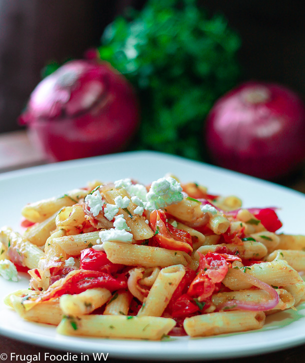 click for a a very easy 30 minute roasted tomato and pancetta pasta recipe