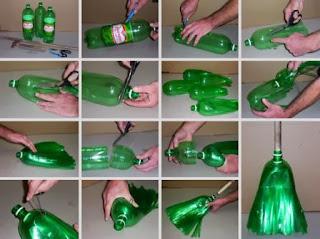 kerajinan tangan sapu dari limbah botol plastik