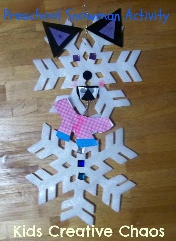 snowflake craft preschool make a snowman winter craft preschool activity from 978